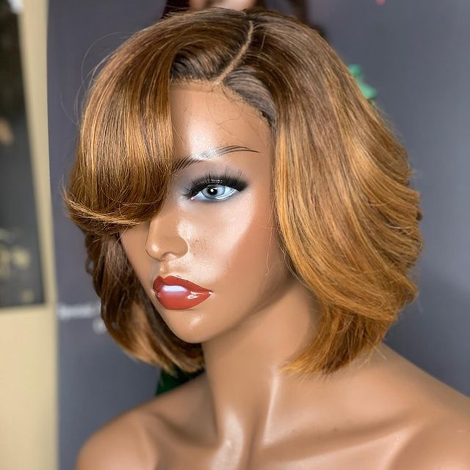 Short Bob Highlight Human Hair Lace Front Wigs with Bangs Natural Straight 180 Density 13X4 Lace Front Remy Peruvian Hair Wigs