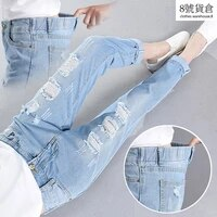 jeans womens nineseven point ripped jeans womens elastic waist loose korean mid waist all match mom jeans
