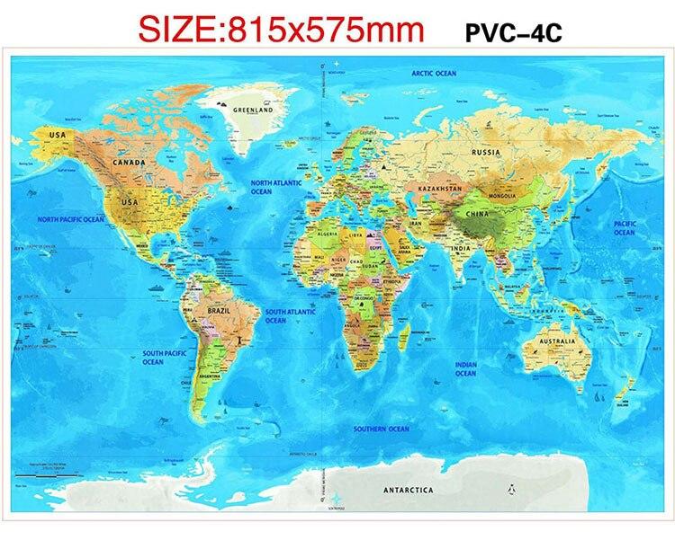 Водонепроницаемая карта с защитой от царапин, Карта мира, лучшее украшение, школьные и офисные канцелярские принадлежности