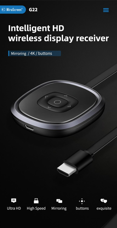 Mirascreen-جهاز استقبال تلفزيون G22 ، 4K ، 5G ، مع Miracast ، لاسلكي ، DLNA ، AirPlay ، wi-fi ، دونجل لجهاز Chromecast ، لنظامي IOS و Android و windows