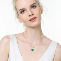 heart emerald pendant necklaces for women teardrop zircon silver color o chain jewelry mother gifts 2021 trend muxueyan collier