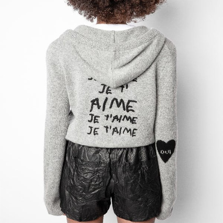 Early Autumn 2021 New Style Flower Weaving + Love Embroidery English Zipper Cardigan Hat Cashmere Sweater enlarge