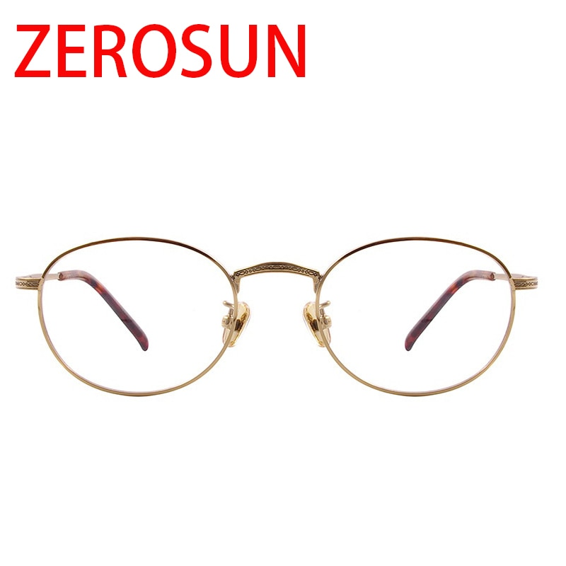 Zerosun-إطار نظارة من التيتانيوم للرجال والنساء ، عدسات بيضاوية عتيقة Nerd ، وصفة طبية ، عدسات بصرية