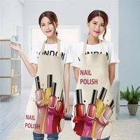 linen flower nail polish theme print kitchen aprons unisex dinner party cooking bib funny pinafore cleaning apron