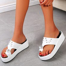 Women EVA Slippers Summer Hawaiian Beach Casual Shoes Outdoor High Heel Platforms Crystal Appliques Slipper Bohemia Flip Flops