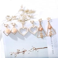 one set 3 pairs korea style clip on earrings no pierced simple style gold color geometric clip earrings