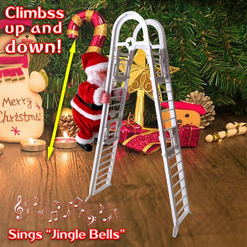 Music Christmas Santa Claus Toys Electric Climb Ladder Christmas Tree Hanging Ornament Party Decoration For Kids New Year Toy MV christmas tree decoration ball metal decoration home christmas ornament decoration christmas party party hanging ball ornament