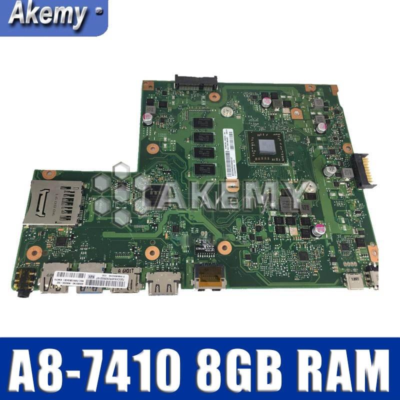 for ASUS X540YA laptop motherboard integrated X540Y X540YA Main board REV 3.0  motherboard 100% teste W/ A8-7410 8GB RAM