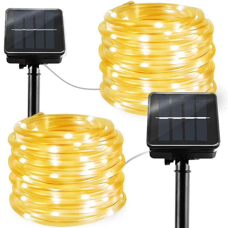 Outdoor Solar Rope Lights 2 Pack Solar Powered Waterproof Tube 12m 100 Led Copper Wire Fairy Lights for Garden Fence Patio Yard