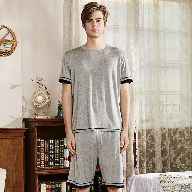 Modal Men Short Sleeve Shorts Pajamas  Summer Thin 2pcs Nightwear Pijamas Suit Casual Loose Sleepwear Home Clothes Negligee