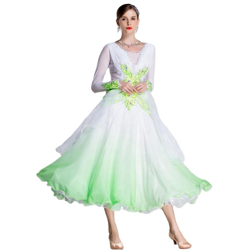 B-18204 التدريجي الشيفون الحديثة السلس الرقص الأداء فستان سوينغ المرأة الفالس الاجتماعية قاعة الرقص فستان المنافسة