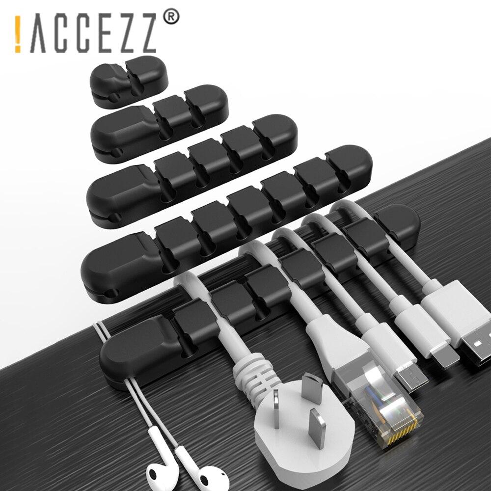 ¡! ACCEZZ Cable de silicona Clips Organizador para USB Cable Winder gestión...