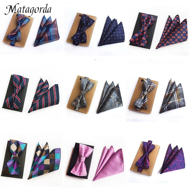 Matagorda 26-Styles Hanky+bowtie Set 100%Silk Polka Dot Paisley Flower Gird Striped Bow Tie Pocket Squared Handkerchief Man Tie