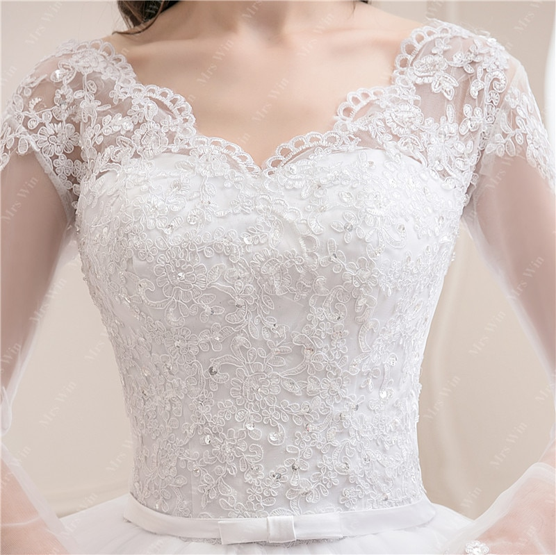 Wedding Dress 2021 New Luxury Full Sleeve Sexy V-neck Bride Dress With Train Ball Gown Princess Classic Wedding Gowns