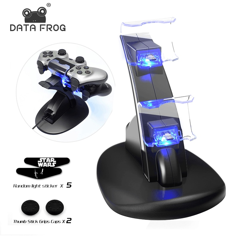 Data Frog Controller Charger for PlayStation 4 LED Dual USB Charging Dock Station for Dualshock 4/PS4 Slim Pro Gaming Controller
