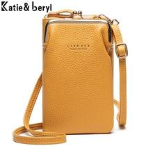 Bolso cruzado pequeño de cuero PU para mujer, bandolera pequeña de moda para chicas, bolso amarillo con solapa y cremallera para teléfono