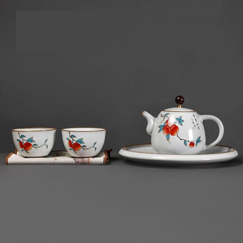 Creative Tea Set Small Set Ceramic Home Simple Office Teapot Tray Business Gift Portable Teteras De Te Arabe Home Decor BE50TT