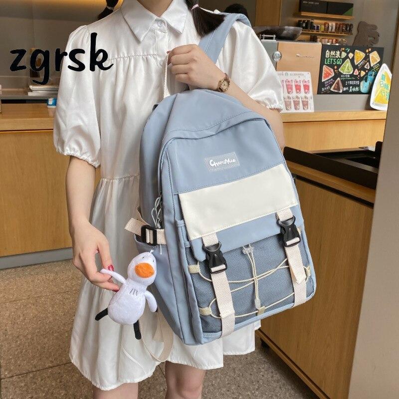 Женский рюкзак, повседневный рюкзак для девушек в Корейском стиле, школьные рюкзаки черного цвета в стиле преппи для подростков, рюкзак