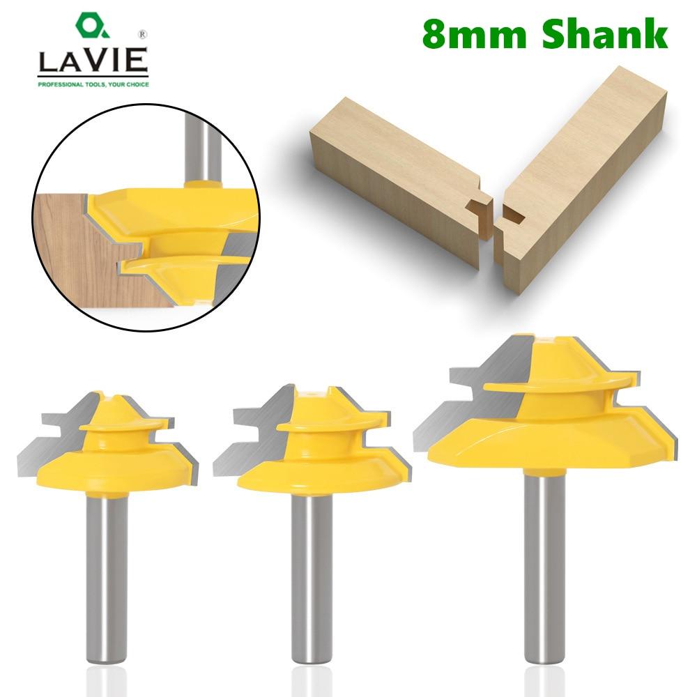 1pc 8mm end mill shank 45 graus de bloqueio mitra roteador bit tenon fresa ferramenta para trabalhar madeira ferramentas