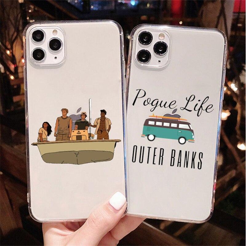 Bancos exteriores-livin poa vida pogue transparente tpu capa de telefone para iphone 11 pro max 6s 6 7 8 plus xs max xr se2020 caso