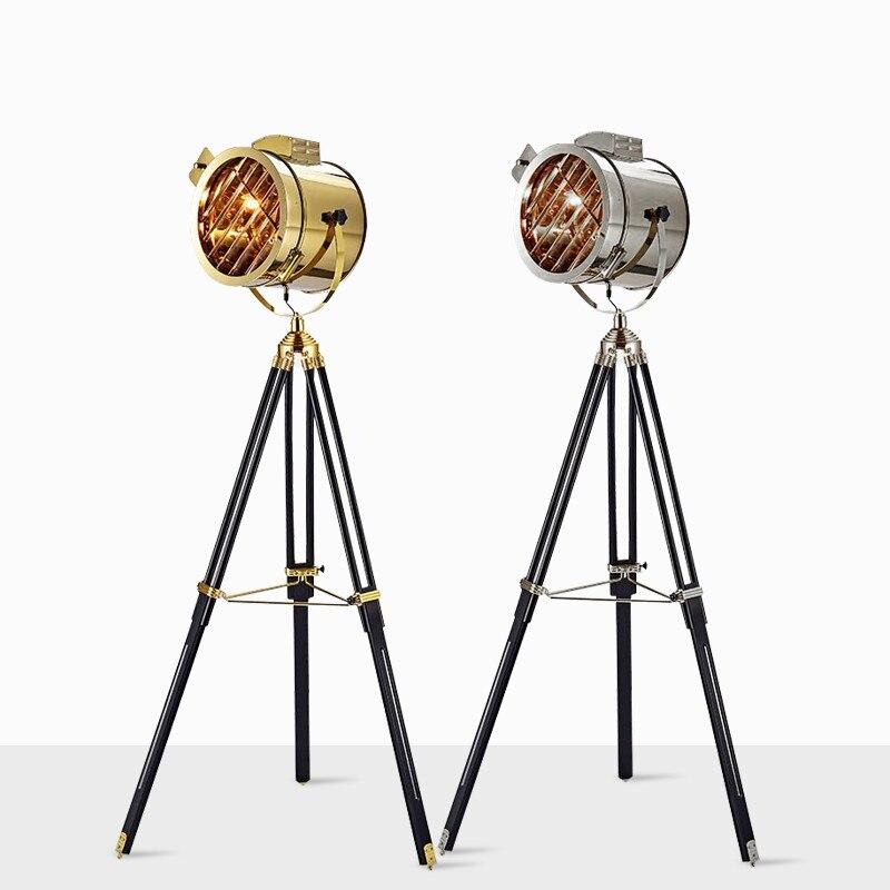 Luces de piso de lujo nórdico buscar Metal madera trípode lámpara de pie Retro Industrial LED para decoración del hogar luces de suelo FA031