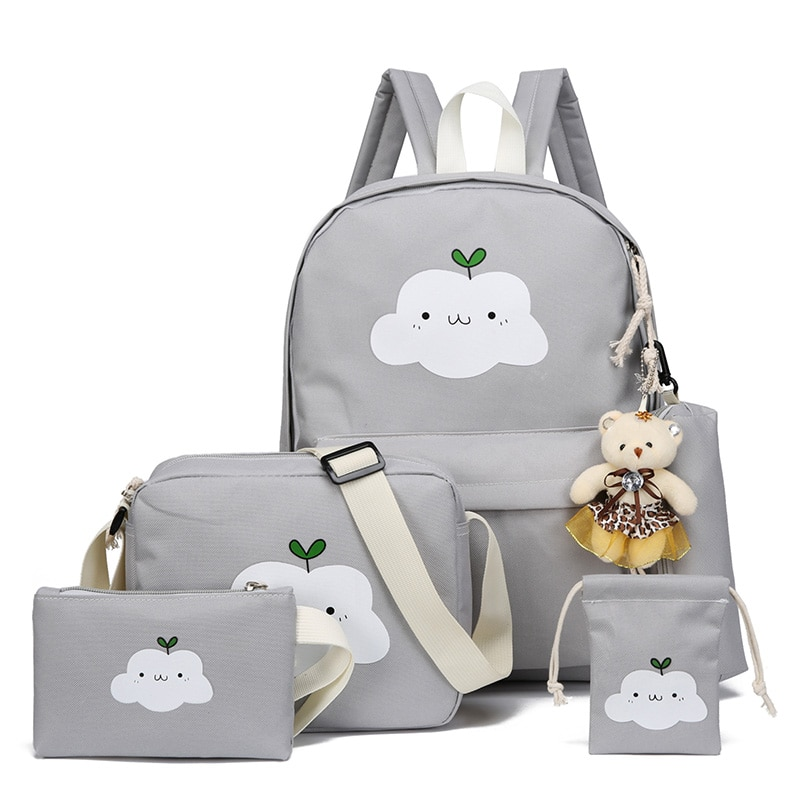 2021 New Fashion Nylon Backpack Schoolbags School For Girl Teenagers Casual Children Travel Bags Rucksack Cute Cloud Printing