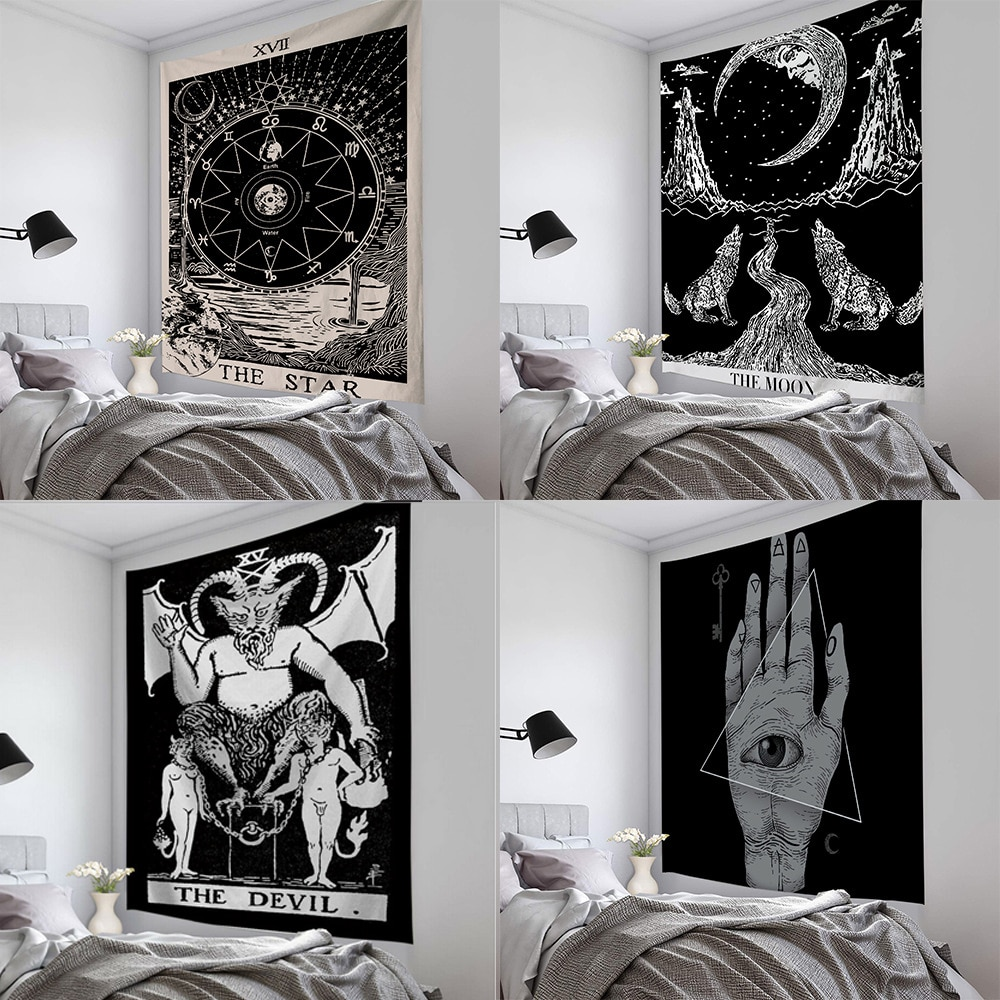 Tarot sol y luna patrón manta Mandala India Tapiz colgante de pared bohemio gitano psicodélico Tapiz brujeria Tapiz