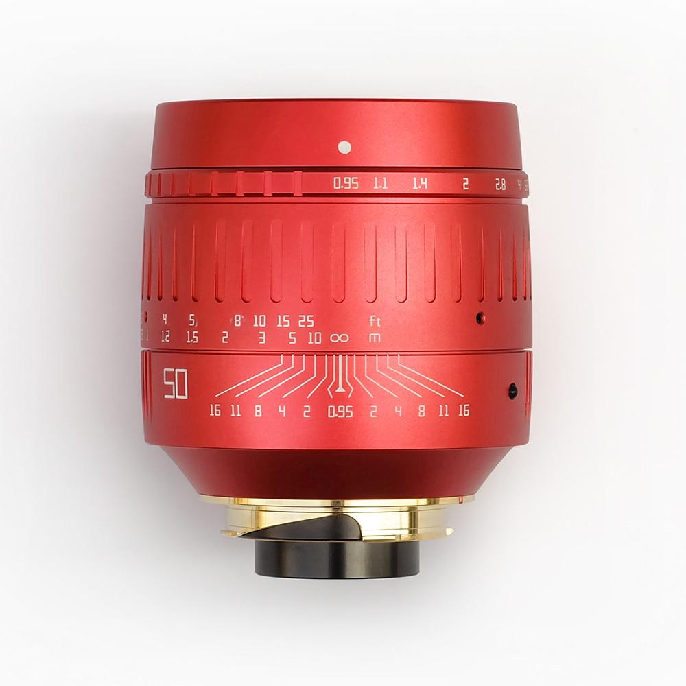 الأصلي TTartisan 50 مللي متر F0.95 عدسة الكاميرا ل Leica م جبل فتحة كبيرة الإطار الكامل MF عدسة ل Leica M9 M10 كاميرا اللون الأحمر