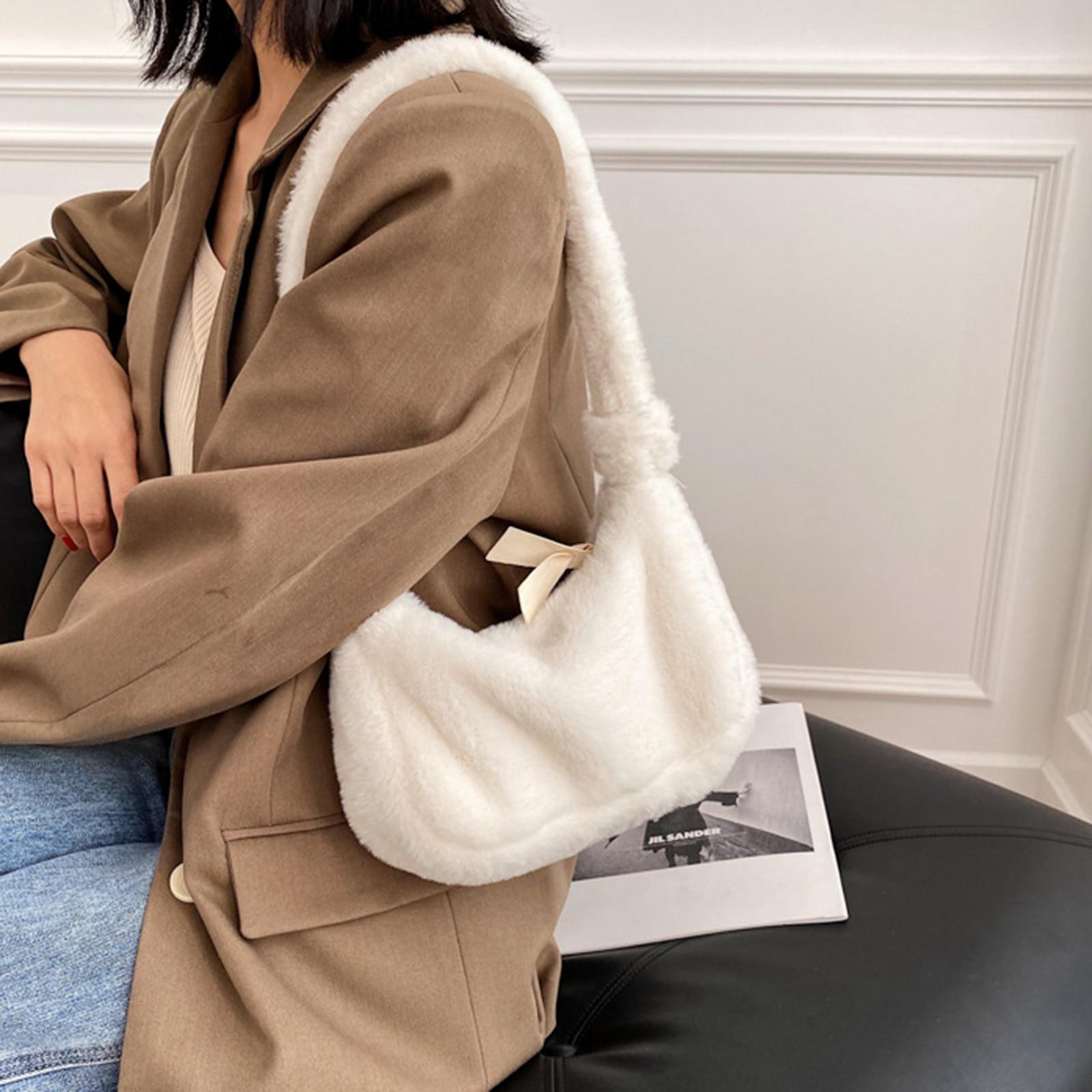 Women Fashion Tote Bag  Plush Shoulder Handbag Phone Holder Clutch Satchel Purse