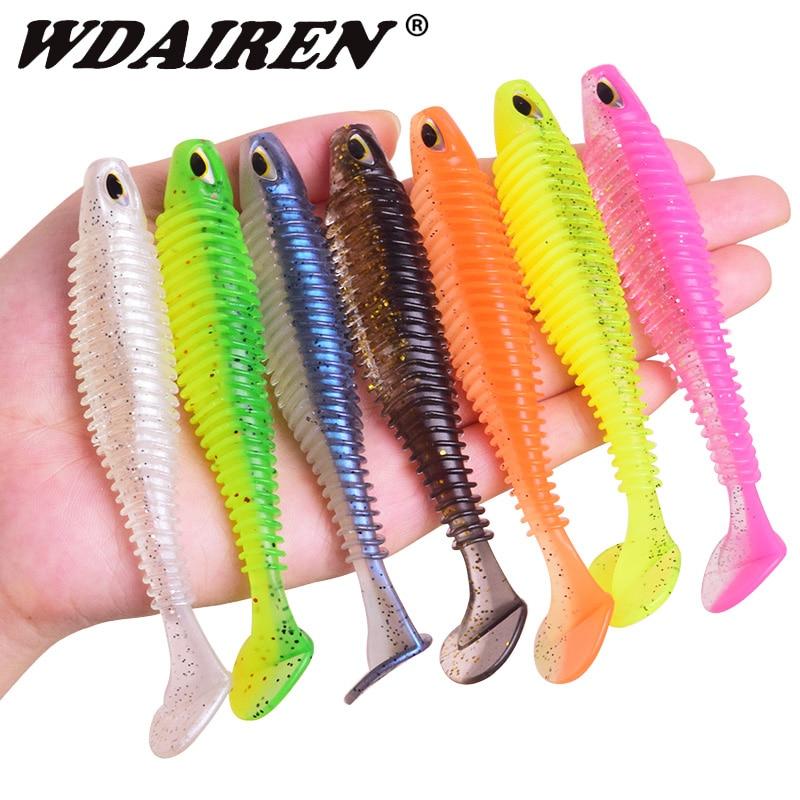 WDAIREN suave silicona pesca señuelo 80mm 110mm Minnow fácil shiner gusanos Wobblers Jigs Artificial cebo aparejos de pesca lubina WD-600