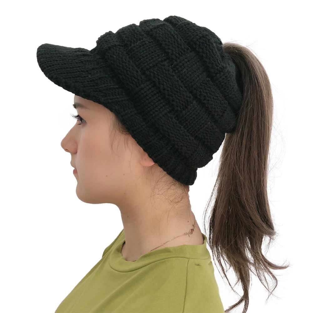 Черная Вязаная Шапка-бини в виде грязного пучка, осенне-зимние шапки, женские мягкие вязаные шапки, теплые однотонные женские шапочки