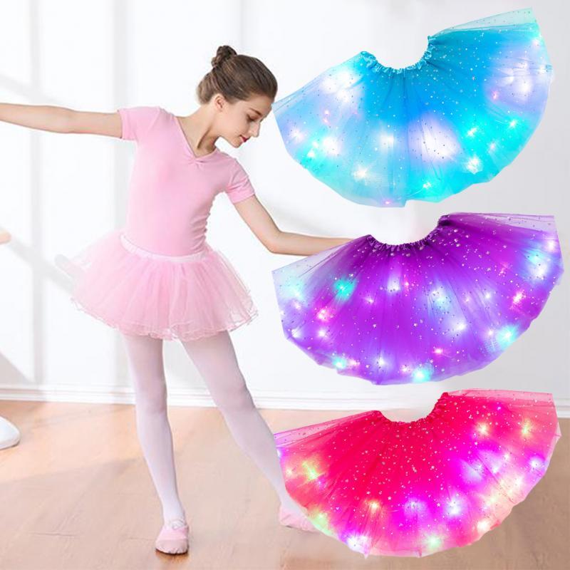 LED brillante chica magia Tutu falda de niña chica faldas Tutu de princesa estrellas de lentejuelas suave ropa de boda fiesta de baile falda de Ballet