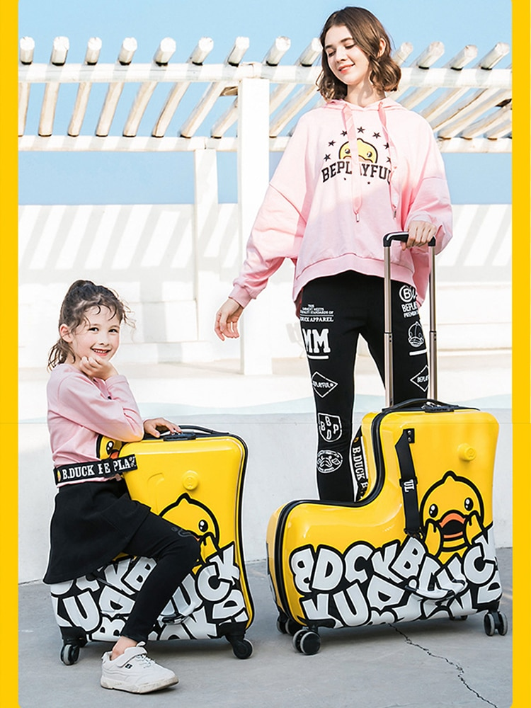 Дорожные чемоданы на колесах, желтые Мультяшные Разноцветные детские чемоданы, вместительные чемоданы на колесах для хранения багажа