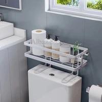 Etagere de rangement murale pour salle de bain  au-dessus des toilettes  multifonction  sans poincon