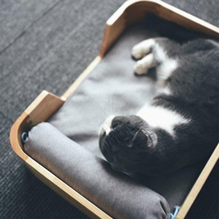 Cama de madera maciza para mascotas, camas para gatos, camas para perros, casa de madera suave, gatito, Litiere, bambú, Kedi Evi Legowisko Dla Kota Kennel Katten Mat DD50MW