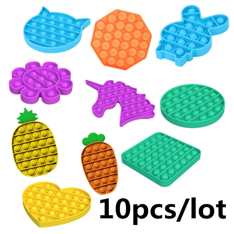 10pcs/lot Push Pops Bubble Sensory Autism Needs Squishy Toys Adult Kid Funny Anti-stress Fidget it Reliver Stress Wholesale