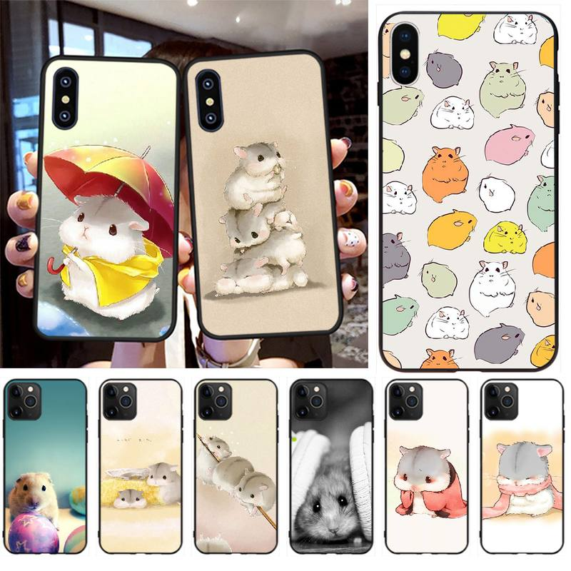 Penghuwan coelho mouse hamster tpu macio silicone caso do telefone capa para o iphone 11 pro xs max 8 7 6s plus x 5S se xr