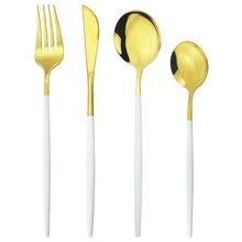 4 pièces or blanc ensemble de couverts en acier inoxydable ensemble de vaisselle couteaux fourchette cuillères ensemble de vaisselle maison cuisine couverts ensemble dargenterie