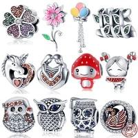 2021new 925 sterling silver owl and love heart strawberry baby fit original pandora braceletbangle making fashion diy jewelry