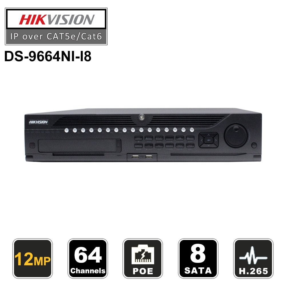 HIKVISION profesional 64 canales CCTV SISTEMA DE DS-9664NI-I8 integrado 64CH NVR para 12MP 8 SATA 2 HDMI