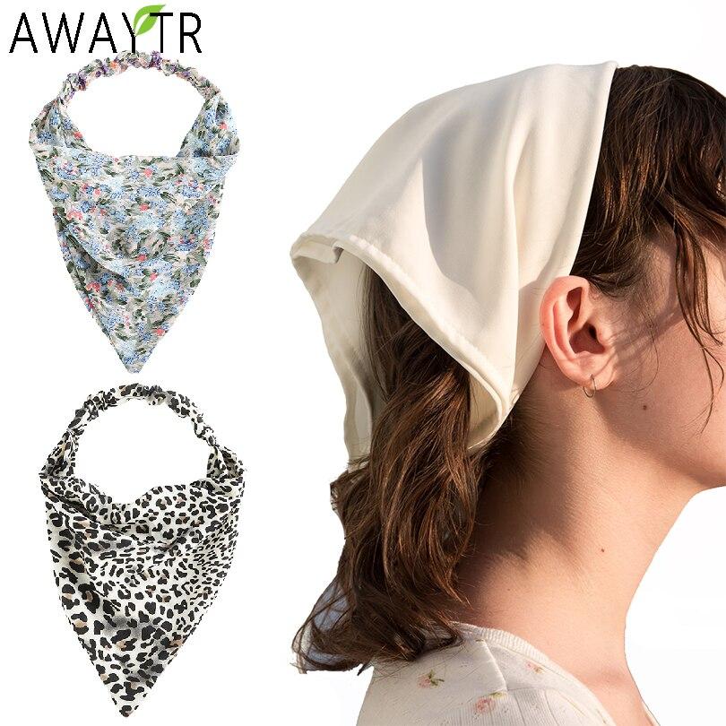 AWAYTR Prints Triangle Bandanas Hairband Elastic Hair Bands Women Flower Bandage Headband Turban Boh