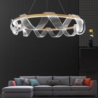 Modern Luxury Lustre Gold Circular Ribbon Chandelier Lighting led Living Room Bedroom Light Nordic Creative Individual Luminaire