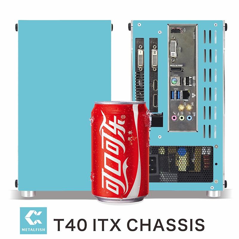 METALFISH-جراب كمبيوتر صغير T40 A4 Mini-ITX ، هيكل أبيض ، لأجهزة كمبيوتر الألعاب ، كمبيوتر محمول ، usb 3.0 ، وردي/أزرق ، هيكل SFX صغير