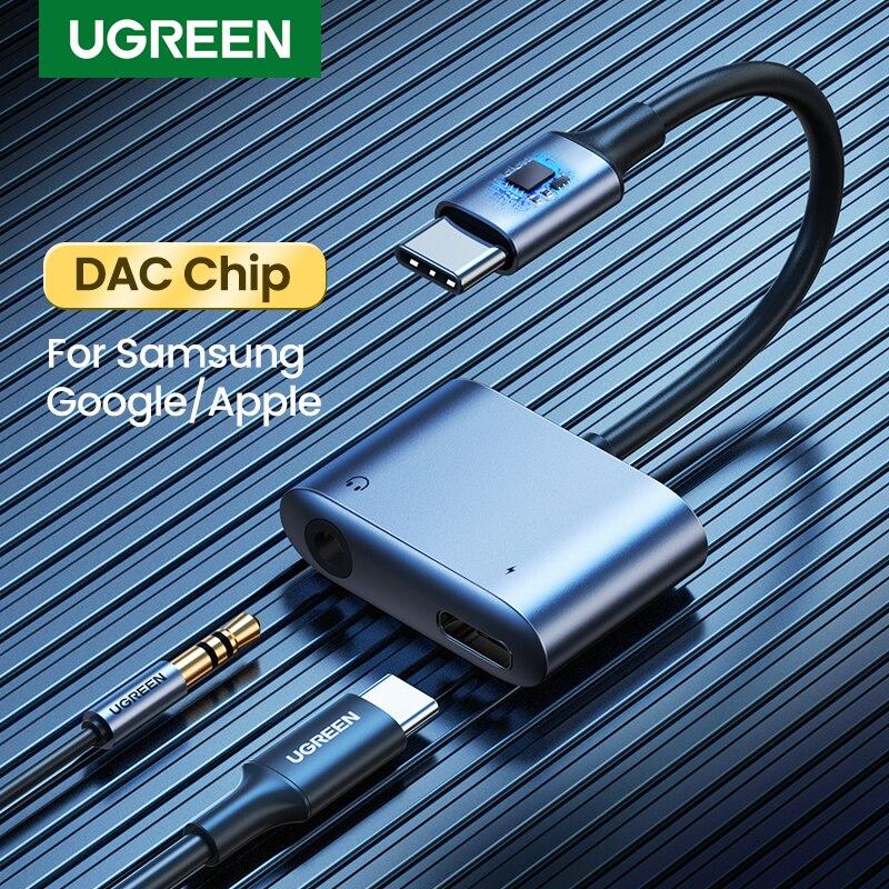 UGREEN USB C adaptador de Cable AUX tipo C 3,5mm AUX convertidor de auriculares DAC Chip PD QC de carga para Huawei P20 Pro Samsung Pixel 4