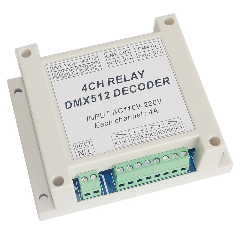 Venta al por mayor 4CH controlador decodificador AC110-220V DMX de 4 canales dmx512 3P relés dimmer uso para tira led RGB luces led lámparas