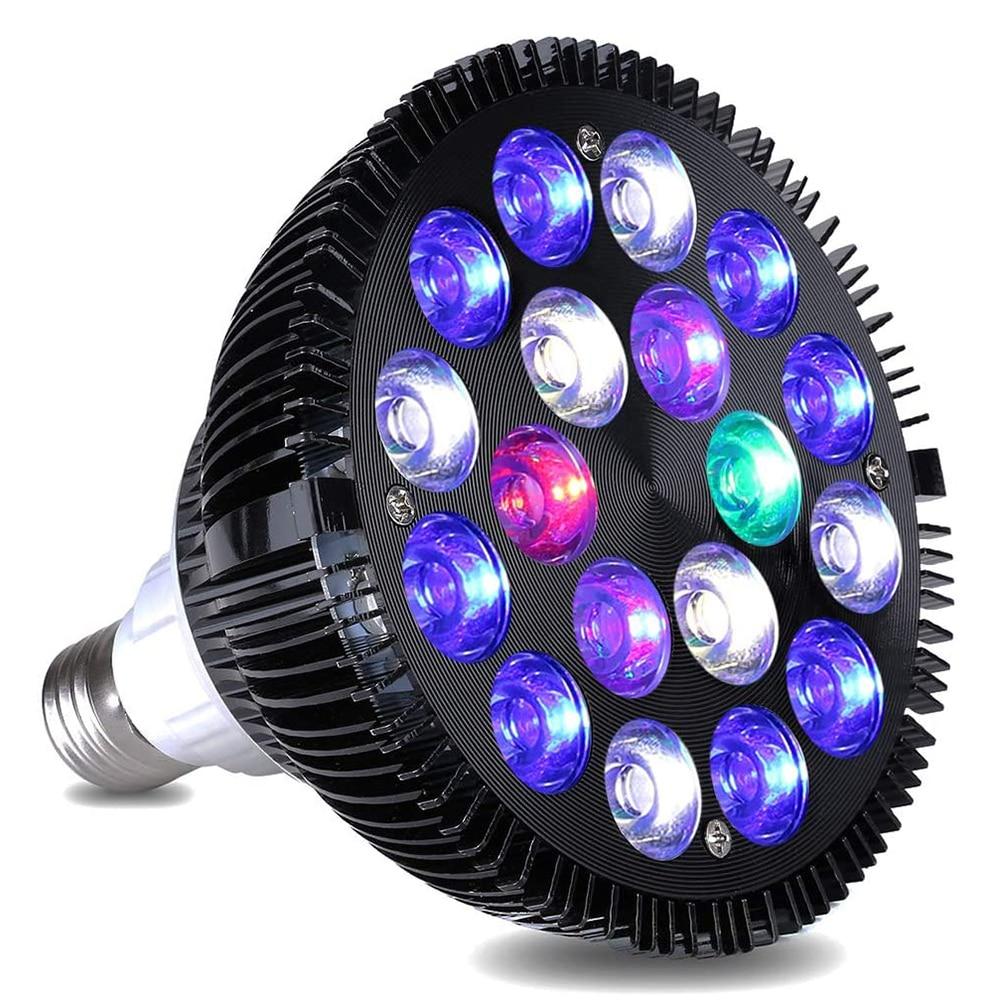 Bombilla de luz de acuario LED de espectro completo 12W/15W/18W/36W/45W/54W E27 para iluminación, pequeño tanque de peces de arrecife de Coral D30