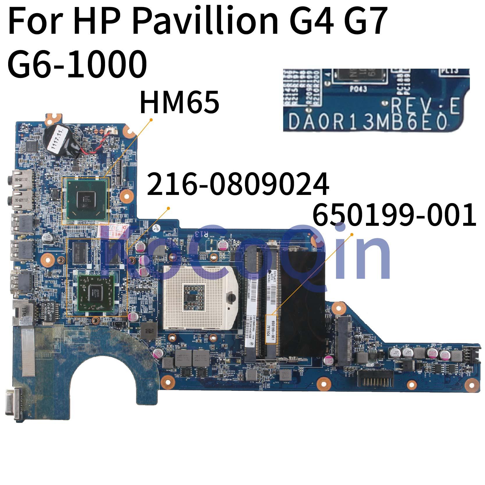 KoCoQin laptop Motherboard Para HP Pavilion G4 G4-1000 G6 HD6470 Mainboard 650199-001 636375-001 DA0R13MB6E1 216- 0809024 HM65
