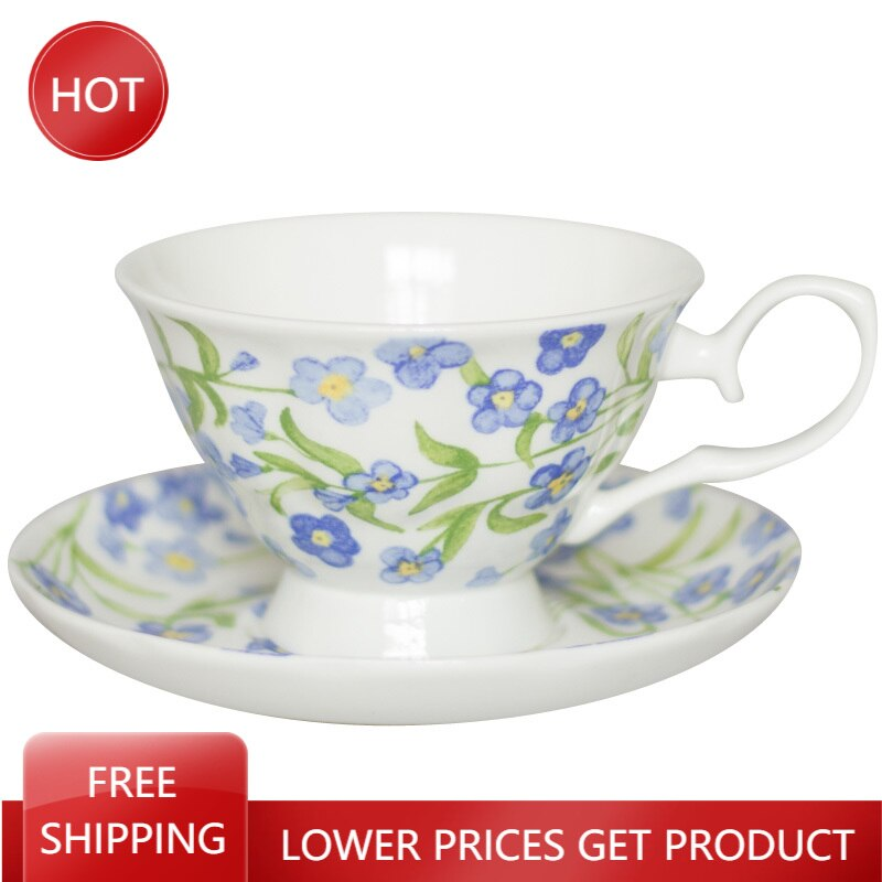 Floral Uropean Style Coffee Cups Breakfast Creative Bone China Coffee Cup Saucer Nordic Ceramica Porcelain Tea Set Cup AA50BD
