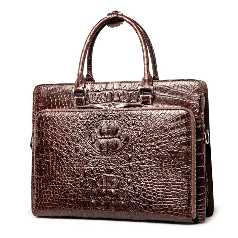 New Crocodile Real Genuine Leather Hard Terse Men's Messenger Bag Business Classic Briefcase High Quality Handbag Laptop For Men