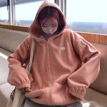 Lamb Wool Sweatshirt Women's Winter 2019 Korean Loose BF Idle Style Fleece-Lined Thickened Super Pop